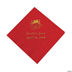 Red Wedding Bells Personalized Napkins with Gold Foil - Beverage