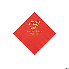 Red Wedding Ring Personalized Napkins with Gold Foil - Beverage