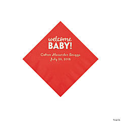 Red Welcome Baby Personalized Napkins with Silver Foil - Beverage