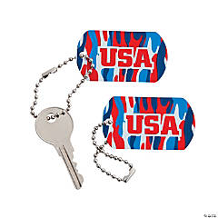 Red, White & Blue Camouflage Dog Tag Keychains