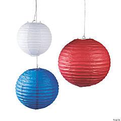 Red, White & Blue Hanging Paper Lanterns