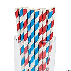 Red, White & Blue Paper Straws