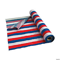 Red, White & Blue Striped Plastic Tablecloth Roll