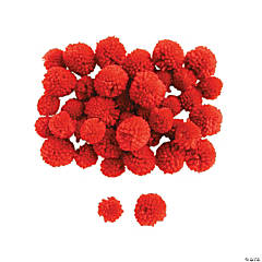 Red Yarn Pom-Poms