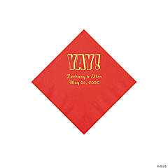 Red Yay Personalized Napkins with Gold Foil - Beverage