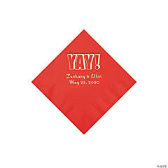Red Yay Personalized Napkins with Silver Foil - Beverage