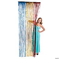 Red, Yellow & Blue Metallic Fringe Door Curtain