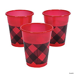Red/Black Buffalo Plaid Disposable Cups