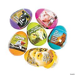 Religious Farm Animal Sticker-Filled Plastic Easter Eggs - 24 Pc.