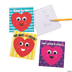 Religious Hearts Googly Eyes Notepads
