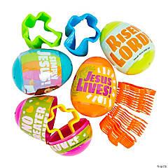 Religious Magic Spring-Filled Plastic Easter Eggs - 24 Pc.