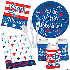 Religious Patriotic Picnic Tableware Kit for 24 Guests