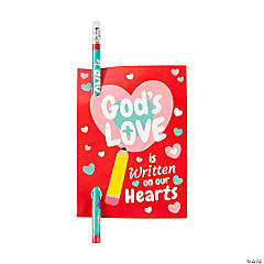 Religious Pencils with Valentine's Day Card - 24 Pc.
