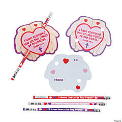 Religious Pencils with Valentine's Day Cards