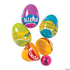 Religious Phrases Bouncing Ball-Filled Plastic Easter Eggs - 24 Pc.