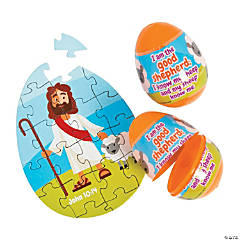Religious Puzzle-Filled Plastic Easter Eggs - 12 Pc.