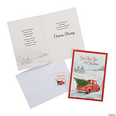 Religious Red Truck Christmas Cards with Magnets