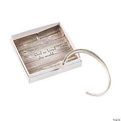 Religious Silvertone Cuff Bracelet