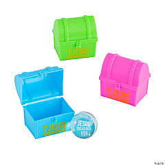 Religious Treasure Chest-Shaped Bouncy Ball-Filled Plastic Easter Eggs - 12 Pc.