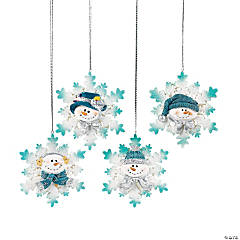 Resin And Glitter Snowman Snowflake Christmas Ornaments