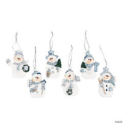 Resin Blue Snowman Christmas Ornaments
