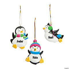 Resin Playful Penguin Christmas Ornaments