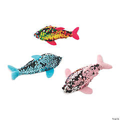 Reversible Sequin Stuffed Dolphins