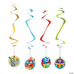 Robot Party Hanging Swirl Decorations - 12 Pc.