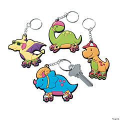 Roller Skating Dino Keychains