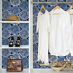RoomMates Bed of Roses Peel and Stick Wallpaper - Blues