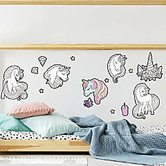 RoomMates Color Your Own Unicorn Peel and Stick Wall Decals