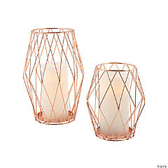 Rose Gold Candle Holder Set with Battery-Operated Pillar Candles