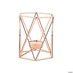 Rose Gold Geometric Cage Tea Light Candle Holders