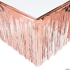 Rose Gold Metallic Fringe Plastic Table Skirt