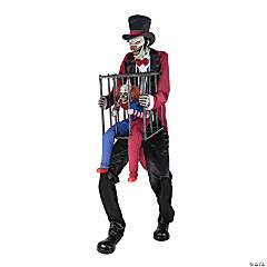 Rotten Ringmaster with Caged Clown Halloween Decoration