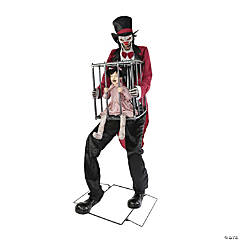 Rotten Ringmaster with Caged Kid Halloween Decoration
