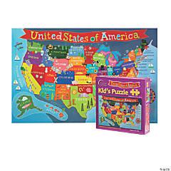 Round World Products Kid's Jigsaw Puzzle, U.S., 100 Pcs