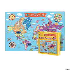 Round World Products Kid's Jigsaw Puzzle, World, 100 Pcs