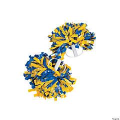 Royal Blue & Gold Spirit Cheer Pom-Poms - 2 Pc.