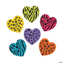 Rubber Animal Print Heart Erasers