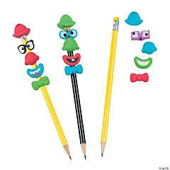 Rubber Build-a-Clown Pencil Toppers