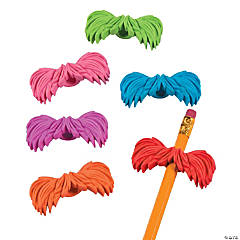 Rubber Bushy Mustache Pencil Toppers