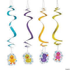 Rubber Ducky Hanging Swirl Decorations - 12 Pc.