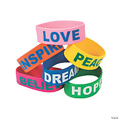 Rubber Fun Sayings Big Band Bracelets