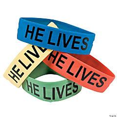 """Rubber """"He Lives!"""" Big Band Bracelets"""