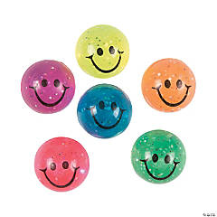 Rubber High-Bounce Smile Face Balls with Glitter
