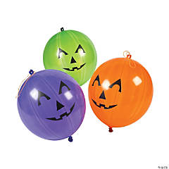 Rubber Jack-O'-Lantern Punch Balls