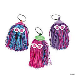 Rubber Long Hair Character Stringy Keychains