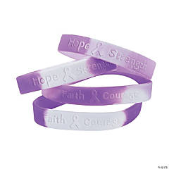Rubber Purple Awareness Ribbon Camouflage Bracelets