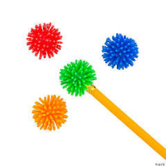 Rubber Spike Ball Pencil Toppers